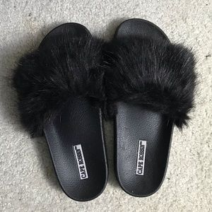 Cape Robbin Fur Slides- make an offer!